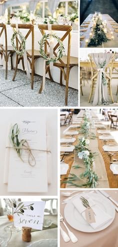 love the wreaths for the backs of some chairs, love the simple runners for gift table or something etc - st Wedding Table Decorations, Wedding Chairs, Wedding Sitting Plan, Trendy Wedding, Rustic Wedding, Olive Wedding, Spanish Wedding, Gift Table, Indoor Wedding