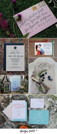 Stylish Calligraphy and Invitation Design by Design Roots. #wedding #invitation #invite #calligraphy #placecard #savethedate #tablenumber