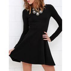 Black Long Sleeve Basic Mini Skater Dress (2,075 INR) ❤ liked on Polyvore featuring dresses, cotton skater dress, longsleeve dress, long-sleeve maxi dress, long sleeve skater dress and long dresses