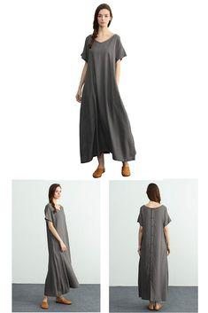 809693d877 Sellse Women s Linen Loose Summer Large Size Long Dress Plus Size Cotton  Clothing