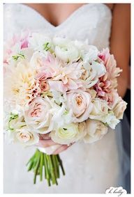 light pink rose and white hydrangea wedding bouquet - Recherche Google