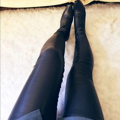 STELLA McCARTNEY thigh- high vegan leather boots Excellent condition. Just one scuff at the heel. Color is grey. Material: real leather . Size runs small. Size listed is 8 but fits like a 7 - 7.5 Stella McCartney Shoes