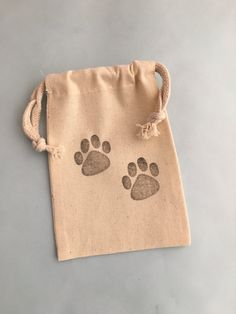 Paw Print Favor Bags: Paw Print Party Bag, Reusable Muslin Drawstring Bag, Dog…