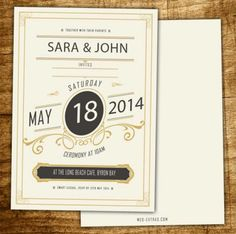 Elegant wedding invitation with   font as a design feature