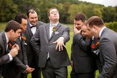Since our bridal party is relatively small, would be fun to do this with one side me and my bridesmaids, and the other side him with his groomsmen. Funny contrast?