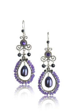 Beaded Chandelier with Amethyst, Black Onyx, and Pearl by Vanessa Mellet Jewelry. American Made. See the designer's work at the 2015 American Made Show, Washington DC. January 16-19, 2015. americanmadeshow.com #earrings, #jewelry, #amethyst, #onyx, #pearl, #americanmade