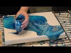 How To Make Fluid Art Ocean Floor Scene with Acrylic Paint Treadmill Silicone & Floetrol - YouTube