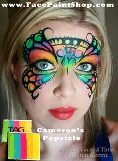 Credit to Cameron Garrett Face Painting Supplies, Face Painting Designs, Animal Face Paintings, Animal Faces, Butterfly Eyes, Butterflies, Tribal Butterfly, Face Painting For Boys, Mixer