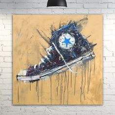 Oil on canvas100 x 100cm  Converse All Star painting by Bristol based expressive painter, Lee Ellis.