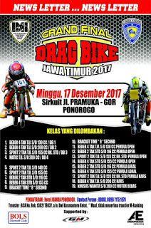 PADDOCK BIKERS - Grand Final Drag Bike Sirkuit Gor Ponorogo, Jawa Timur . Event atau kejuaraan Drag Bike yang akan berlangsung minggu depan...