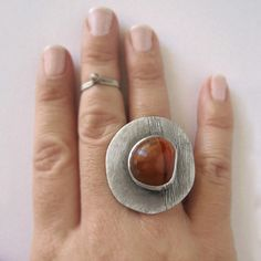 Carnelian Ring Gemstone Statement Cocktail Sterling by applenamedD, €80.00