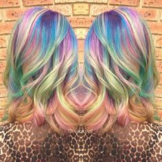 Hair goals. Opal hair color like a fluffy unicorn, includes the color pastel Purple Blue Pink Green, And a hint of blond.(if you are not blond)