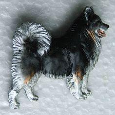 Lapphund Tricolour Brooch Dog Breed Jewellery Handpainted Handcrafted Resin