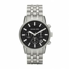 Michael Kors Mens Watch-Gray stainless steel 'Scout' chronograph watch. Black dial with contrast accents 43mm case size from Cornell's Jewelers.