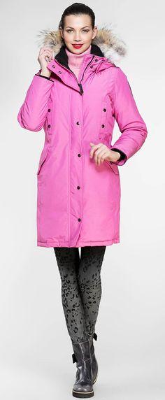 Women's winter down coat, 725 fill power. Arctic Bay - Made in Canada. Down Coat, Fur Trim, Arctic, Rib Knit, Parka, Gray Color, Rain Jacket, Charlotte, Windbreaker