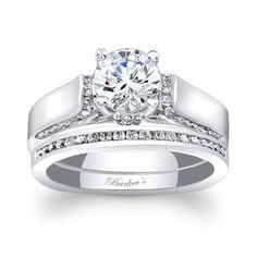 Barkev's Designer 14k White Gold 1 1/4ct TDW Round-cut Bridal Ring Set | Overstock.com Shopping - The Best Deals on Bridal Sets