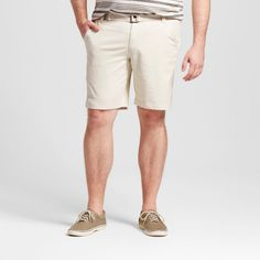 Men's Big & Tall Belted Flat Front Chino Shorts