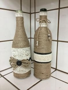 Shabby Chic Wine Bottles by MyBarginGifts on Etsy