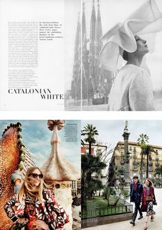 Barcelona seen through the lens of two iconic photographers. From top: Helmut Newton, Vogue, June 1963; Mario Testino, Vogue, May 2014