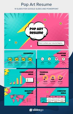 Originality is present in all our slides. Who would expect a that looks like it's straight out of a comic book? Click and enjoy! Powerpoint Design Templates, Booklet Design, Resume Design Template, Flyer Template, Web Design, Slide Design, Graphic Design, Book Presentation, Presentation Templates