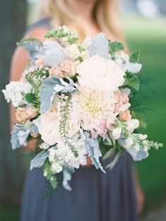 Gorgeous bridesmaid bouquet with rosy pink, soft green and white for Chicago His. - Gorgeous bridesmaid bouquet with rosy pink, soft green and white for Chicago History Museum wedding - Blue And Blush Wedding, Blush Wedding Flowers, Dusty Blue Weddings, Floral Wedding, Wedding Colors, Wedding Bouquets, Bridesmaid Bouquets, Blush Weddings, Whimsical Wedding