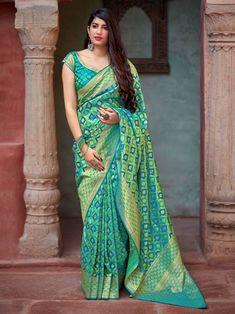 Turquoise Colour Woven Banarasi Silk Saree With Blouse Banarasi Sarees, Silk Sarees, Saris, Saree Blouse Designs, Blouse Patterns, Indian Crossdresser, Bridal Silk Saree, Saree Models, Elegant Saree