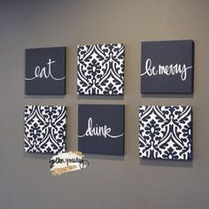 Navy Blue Eat Drink & Be Merry Wall Art Pack of 6 Canvas Wall decor diy canvas This item is unavailable Black Wall Decor, Canvas Wall Decor, Fabric Wall Art, Diy Canvas Art, Navy Blue Wall Art, Fabric On Canvas, Canvas Wall Art Quotes, Wall Art Sets, Diy Wall Art