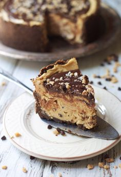 Peanut Butter Sweet and Salty Mousse Torte -- Cookie Crumb Crust and Peanut Butter Mousse with Toffee, Chocolate Chips and chopped peanuts