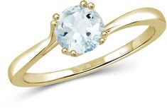 4/9 CT TW Aquamarine Gold-Plated Sterling Silver Bypass Solitaire Ring by JewelonFire