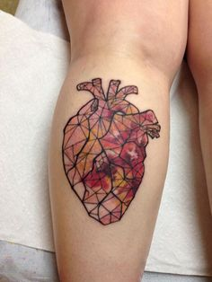 Off the Map Tattoo : Tattoos : Kristina Bennett : Anatomical Heart with watercolor explosion but with purples, blues and greens Future Tattoos, Love Tattoos, Beautiful Tattoos, Body Art Tattoos, Tattoos For Women, Real Heart Tattoos, Tatoos, Fun Tattoo, Map Tattoos