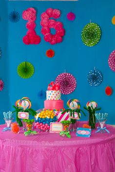 Love how colorful these decorations are! Pretty sweet sixteen decorations.