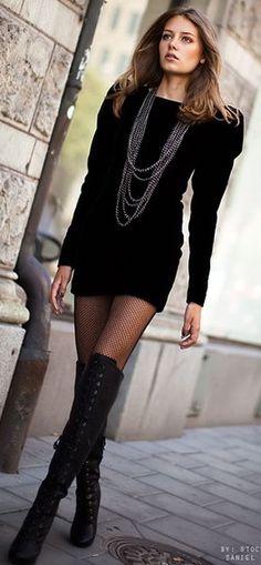 Thigh high boots and Little black dress