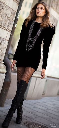 Thigh high boots and Little black dress