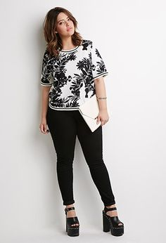 Tropical Print Textured Top   Forever 21 PLUS - 2000053702