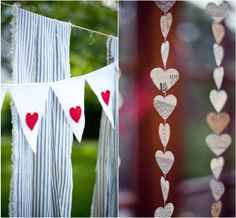 sweet hearts pennant banner and fabric strips for backdrop