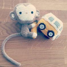"Wild & Handmade  ""#happy #monkey and #banana #mini #minivan #little #amigurumi #toy #gift #for #babies #lovecrochet…"""