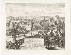Romeyn de Hooghe | Inname van Maastricht door de hertog van Parma, 1579, Romeyn de Hooghe, 1670 - 1699 | Inname van Maastricht door het leger van de hertog van Parma, 29 juni 1579. Farnese wordt zittend op een stoel onder een parasol de stad binnengedragen. Middenonder een cartouche met de titel en de legenda A-S in het Frans.