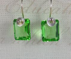 Green Amethyst and Sterling Silver Earrings