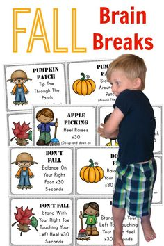 Get moving this fall with fun ways to get the wiggles out. Perfect for brain breaks, movement stations and just plain fun this Fall! Gross Motor Activities, Movement Activities, Autumn Activities, Therapy Activities, Preschool Activities, Physical Activities, Montessori Preschool, Speech Activities, Yoga For Kids