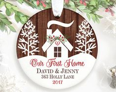 Our First Home Ornament Christmas New House Gift Housewarming Realtor