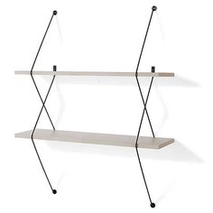 Display your books, beloved collectibles, or anything else you can imagine with the wonderfully modern Danya B. Two-Level Wall-Mounted Shelf. This uniquely styled two-shelf system easily mounts on your wall with edgy looking black wires. Decor, Laminated Mdf, Danya B, Decorative Shelving, Wall Mounted Shelves, Wall, Shelving, Bed Bath And Beyond, Grey Bedding
