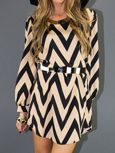 Color Block Chevron Print Long Sleeve Dress | abaday