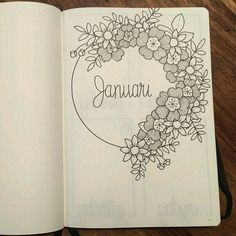 Flower Drawing Bullet journal monthly cover page, January cover page, flower drawings. Bullet Journal Vidéo, Bullet Journal Cover Page, Bullet Journal Layout, Journal Covers, Bullet Journal Inspiration, Journal Pages, Journal Ideas, Realistic Rose, Doodles