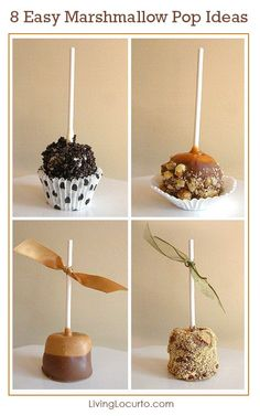 8 Easy Ways to Decorate a Marshmallow Pop! Fun No-Bake Party Dessert Recipe Ideas. Oreo, Chocolate, and caramel marshmallows perfect for a birthday party, baby shower or other celebration. Just Desserts, Delicious Desserts, Yummy Food, Health Desserts, Fun Food, Health Foods, Cake Pops, Candy Recipes, Dessert Recipes