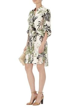 Petite Tropical Print Shirt Dress