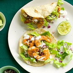 Shrimp Tacos with Lime Crema - low calorie, easy, and delicious!