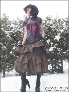 Steampunk - Skirt  Steampunk  Victorian  Burning Man  Gypsy  Tiered Skirt  Tango  Overskirt  Petticoat  Bohemian  Taffeta  Size Large by GypsyCircus