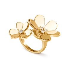 Frivole Between the Finger ring, yellow gold, diamonds