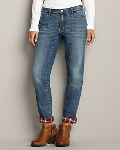 Boyfriend Flannel-Lined Jeans | Eddie Bauer size 4