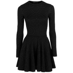 Alexander McQueen Long Sleeve Knit Dress with Circle Skirt (Black) ($2,315) ❤ liked on Polyvore featuring dresses, short dresses, black dresses, vestidos, long sleeve dress, long sleeve mini cocktail dress, long sleeve mini dress and knit dress